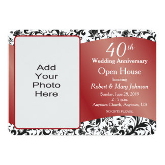 Black Swirl & Ruby 40th Wedding Anniversary Invitation