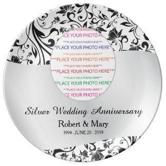 Black Swirl & Silver 25th Wedding Anniversary Dinner Plate