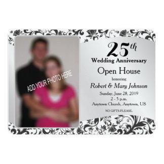 Black Swirl & Silver 25th Wedding Anniversary Invitation