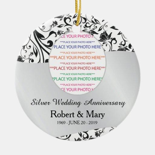 Black Swirl Silver 25th Wedding Anniversary Double Sided Ceramic Round