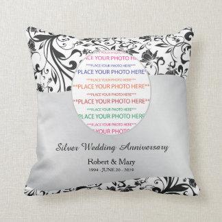 Black Swirl & Silver 25th Wedding Anniversary Pillow