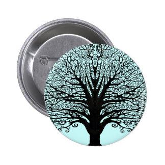 Black Swirl Tree 2 Inch Round Button