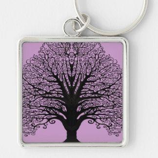 Black Swirl Tree Keychain