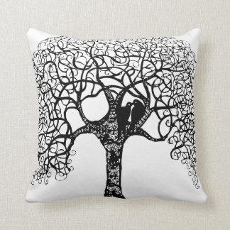 Black Swirl Tree Love Bird Choose Background Color Throw Pillow