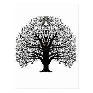Black Swirl Tree Postcard