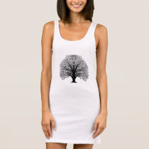 Black Swirl Tree Sleeveless Dress
