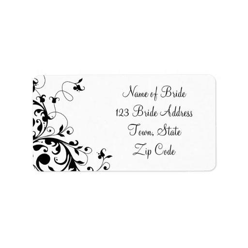 Black Swirl Wedding RSVP Return Address Label