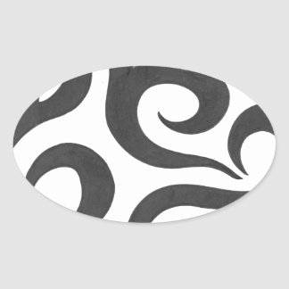 Black Swirls (1) Oval Sticker