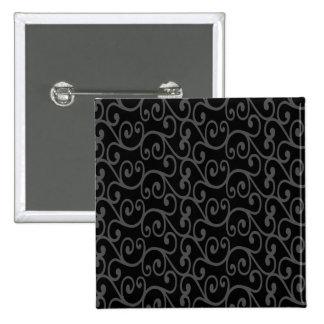 Black swirls 2 inch square button