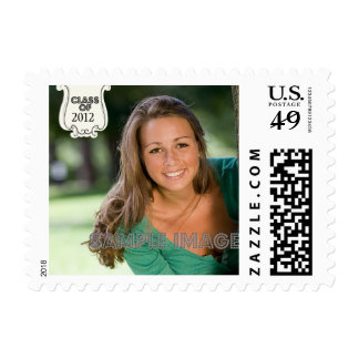 Black swirls badge custom photo graduation stamps