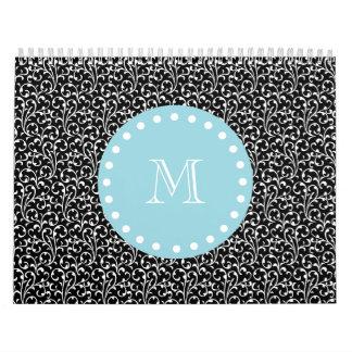 Black Swirls, Blue White Monogram Calendar