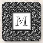 Black Swirls, Custom Monogram, Your Initial Beverage Coaster