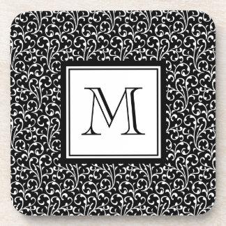 Black Swirls Custom Monogram Your Initial Beverage Coasters