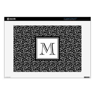 "Black Swirls, Custom Monogram, Your Initial Decals For 15"" Laptops"