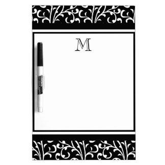 Black Swirls, Custom Monogram, Your Initial Dry-Erase Board