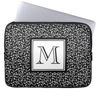 Black Swirls, Custom Monogram, Your Initial Laptop Sleeve