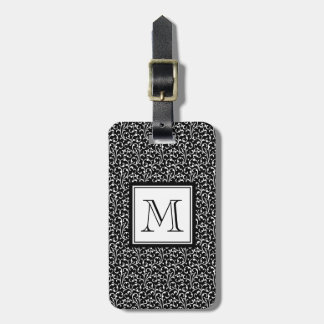 Black Swirls, Custom Monogram, Your Initial Bag Tags