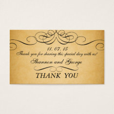 Black Swirls Damask Vintage Wedding Favor Tag at Zazzle