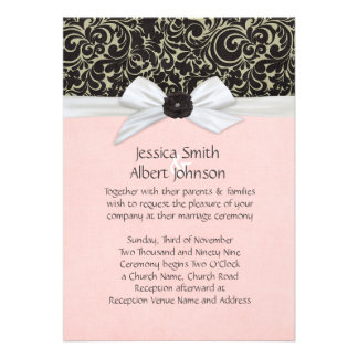 Black Swirls Floral Ribbon Damask Wedding Invite