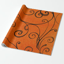 Black Swirls on Orange Gift Wrap  Paper