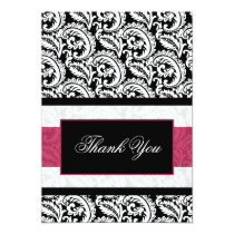 Black swirls pink  Thank You Card