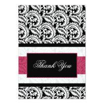 Black swirls pink  Thank You Card
