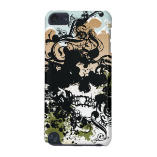 Black swirls skull awesome ipod touch case