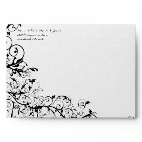 Black Swirls Wedding Envelopes envelope