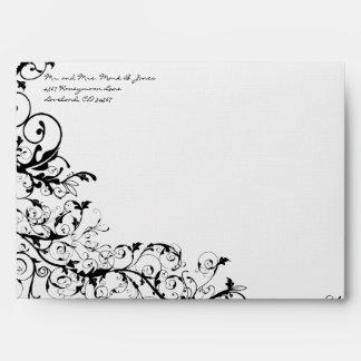 Black Swirls Wedding Envelopes
