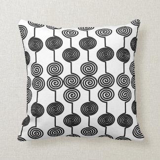 Black Swirly Circle Curls Throw Pillow