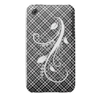 Black Swirly Plaid iPhone Case
