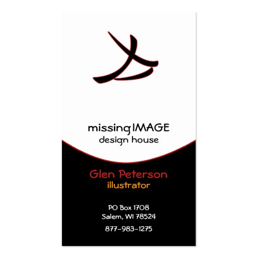 Black Swoop with Red Business Card Template