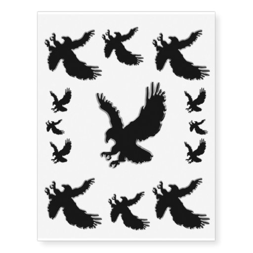 black swooping eagle decorate your skin temporary tattoos zazzle. Black Bedroom Furniture Sets. Home Design Ideas