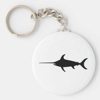 Black Swordfish Basic Round Button Keychain