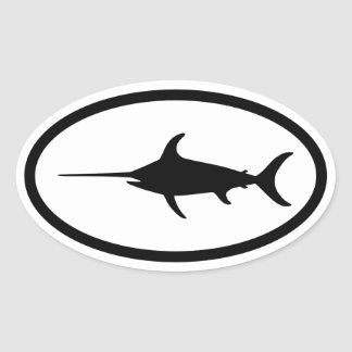 Black Swordfish Oval Sticker