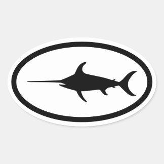 Black Swordfish Oval Sticker