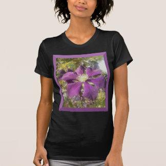 Black T-Shirt Women Passionate Purple Flower
