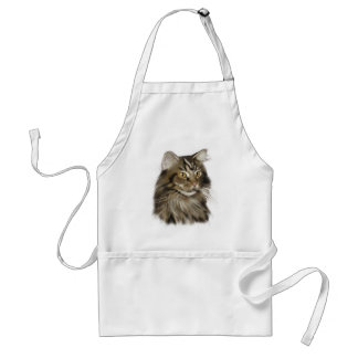 Black Tabby Maine Coon Cat Adult Apron