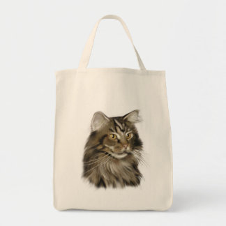 Black Tabby Maine Coon Cat Tote Bags