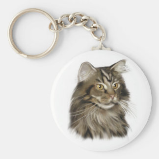 Black Tabby Maine Coon Cat Basic Round Button Keychain