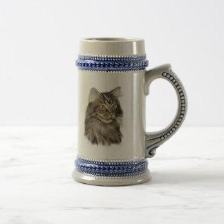 Black Tabby Maine Coon Cat Beer Stein