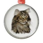 Black Tabby Maine Coon Cat Metal Ornament