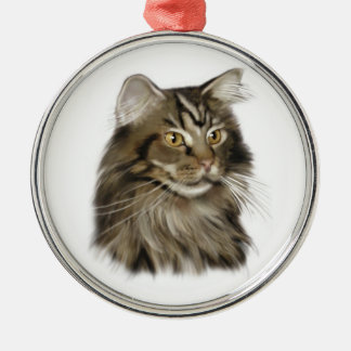 Black Tabby Maine Coon Cat Metal Ornament