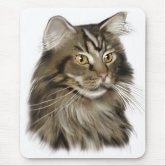Black Tabby Maine Coon Cat Mouse Pad