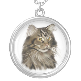 Black Tabby Maine Coon Cat Personalized Necklace