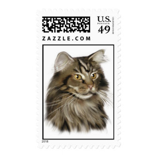 Black Tabby Maine Coon Cat Stamp