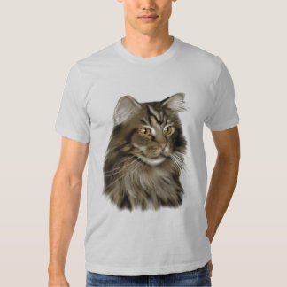 Black Tabby Maine Coon Cat Tee Shirts