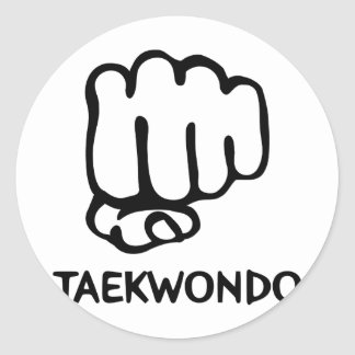 black taekwondo icon classic round sticker