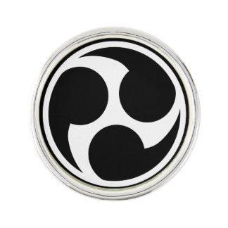 Black Taiko Mitsudomoe Lapel Pin