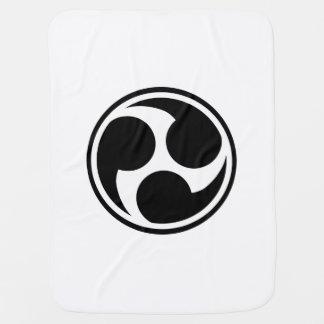 Black Taiko Mitsudomoe Stroller Blanket